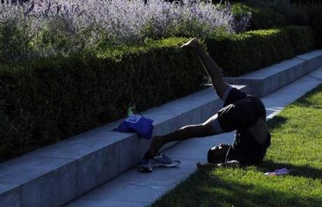 Jabez Patterson, 20, of Chicago practiced yoga.